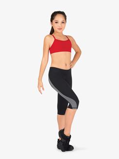 Girls Colorblock Capri Workout Leggings