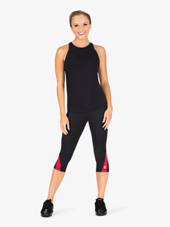 Womens Colorblock Capri Workout Leggings