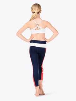 Girls Colorblock Crop Fitness Leggings