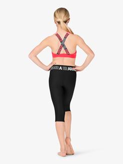 Girls Workout Logo Print Waistband Capri Leggings