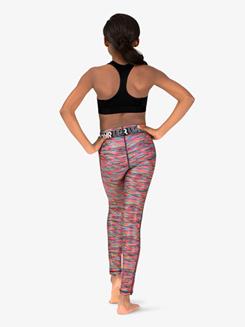 Girls Graphic Print Logo Waistband Workout Leggings