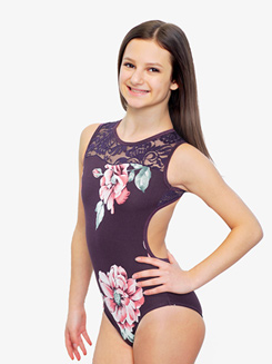 Girls Floral Printed Tank Leotard
