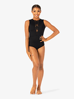 Womens Lace V-Front Tank Leotard