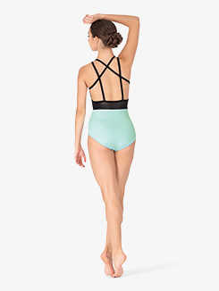 Womens Jessa Aqua Strappy Back Camisole Leotard