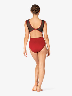 Womens Venda Burgundy Mesh Panel Tank Leotard