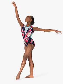 Girls Blossom Navy Open Back Tank Leotard