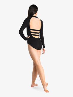 Womens Cutout Strappy Back Long Sleeve Leotard