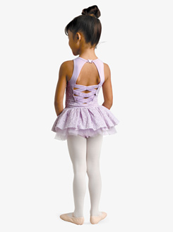 Girls Floral Embroidered Mesh Tank Ballet Tutu Dress