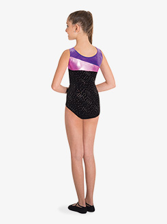 Girls Contrast Panels Tank Gymnastics Leotard