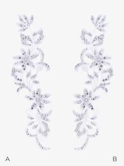 Rhinestone Floral Viola Applique with Swarovski Crystals