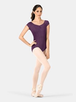 Womens Pinch Front Compression Short Sleeve Leotard