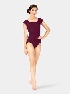 Womens Strappy Back Compression Short Sleeve Leotard