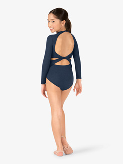 Child Long Sleeve Open Back Leotard