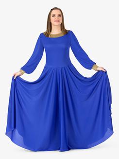 Womens Metallic Back Worship Dress