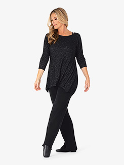 Womens Plus Size Long Sleeve Dance Tunic Top