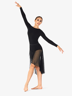 Womens Faux Wrap Mesh Dance Skirt