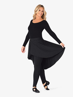 Womens Plus Size Asymmetrical Faux Skirt Dance Leggings