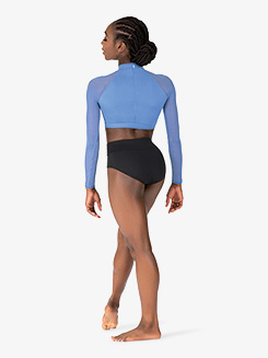 Womens Mesh Insert Long Sleeve Dance Crop Top