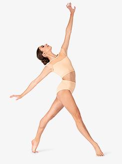 Girls Mesh Panel Short Sleeve Dance Crop Top