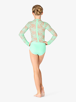 Girls Lace Long Sleeve Leotard