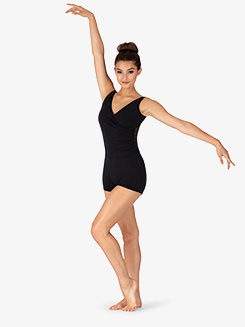 Womens Diamond Mesh Wrap Dance Shorty Unitard