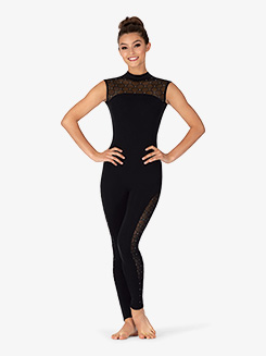 Womens Diamond Mesh Cap Sleeve Dance Unitard