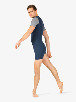 Mens Two-Tone Mock Neck Dance Shorty Unitard
