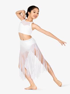 Girls Performance Sheer Mesh Fringe Skirt