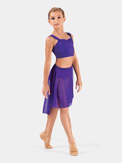 Child Mid Length High-Low Mesh Dance Skirt
