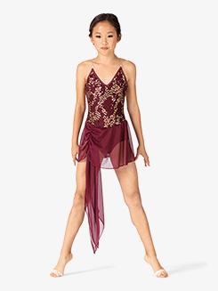 Girls Performance Sequin Asymmetrical Dress