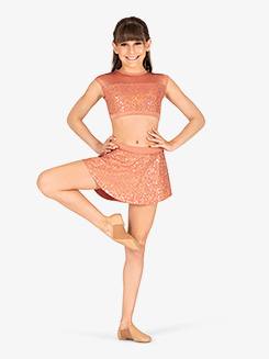 Girls Performance Sequin High-Low Skirt