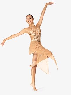 Womens Performance Sequin Asymmetrical Dress