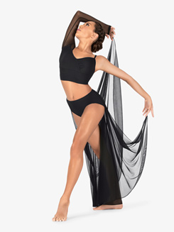 Womens Performance Sheer Mesh Half Skirt