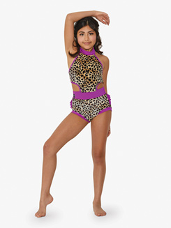 Girls Dual Print Velvet Halter Bustled Leotard