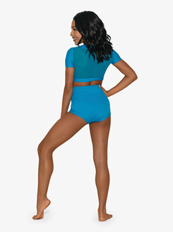 Womens Two-Tone High Waist Dance Briefs