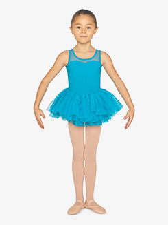 Girls Floral Mesh Open Back Tank Ballet Tutu Dress