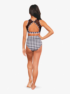 Womens Gingham Printed High Waist Dance Briefs