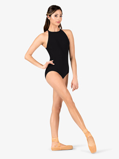 Womens Back Cutout Halter Leotard