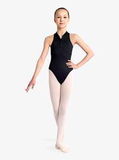Girls Half-Zip Front Tank Leotard