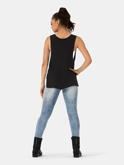 Adult Wide Arm Sleeveless High-low Top