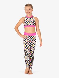 Girls Flower Stripe Print Dance Leggings