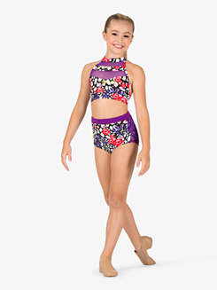 Girls Cheetah Floral Print Dance Bra Top