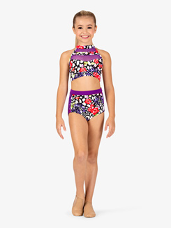 Girls Cheetah Floral Print Dance Briefs