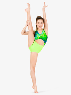Girls Lime Green Print Tank Leotard