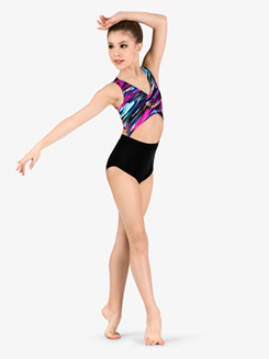 Girls Neon Brush Stroke Tank Leotard