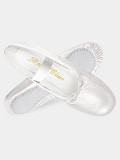 Adult Full Sole Gold/Silver Leather Ballet Slipper