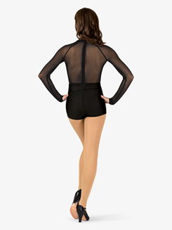 Womens Performance Deep Mesh Insert Long Sleeve Thong Bodysuit
