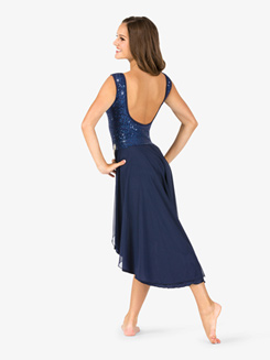 Womens Lyrical Draped Sequin Mesh Tank Dress