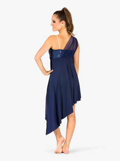 Womens Draped Asymmetrical Bodice Camisole Performance Dress