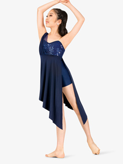 Girls Draped Asymmetrical Bodice Camisole Performance Dress